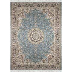 فرش ماشینی زمرد مشهد طرح 36000 زمینه آبی